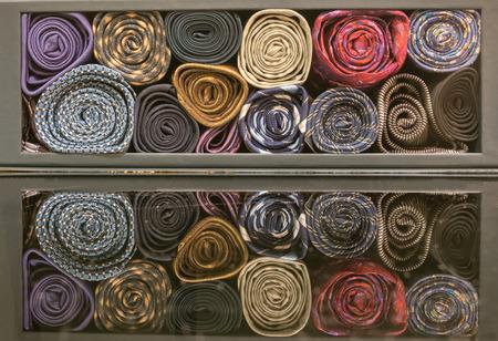 tie necktie: colorful silk necktie stored in the box
