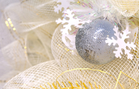 see through: shining glass ball with ice crystal, celebrate with beautiful see through net