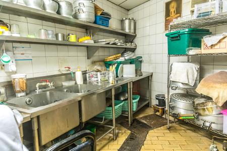 onregelmatigheid keuken setting, vuile keuken
