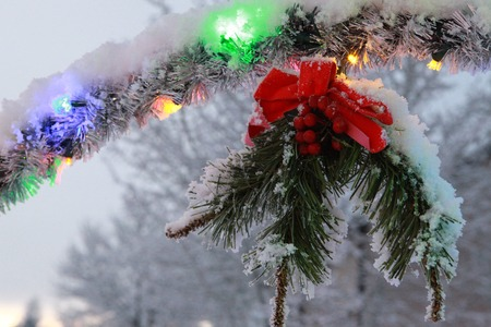 christmas decorations: Lighted Christmas decorations Stock Photo