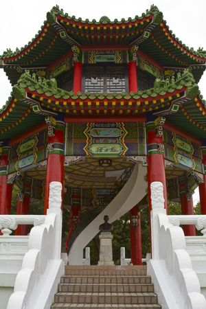 Traditional chinese style building at a temple Stock Photo