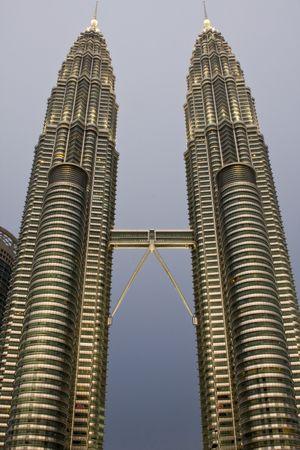 Twin Towers Kuala Lumpur early evening with grey sky