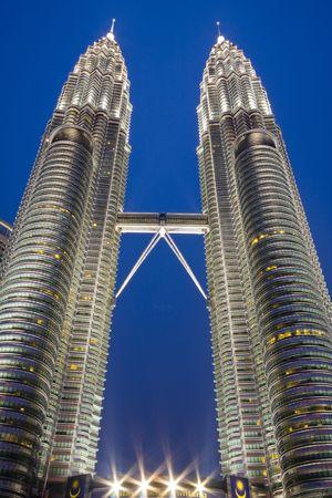 Twin Towers in Kuala Lumpur Malaysia at night. Editorial