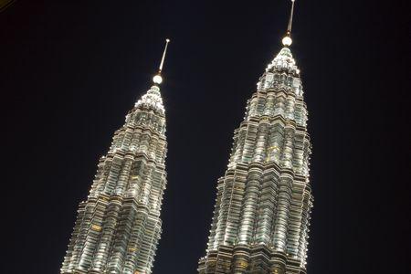 The top of the twin towers in Kuala Lumpur Malaysia