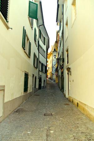 Narrow European street in Zurich, Switzerland