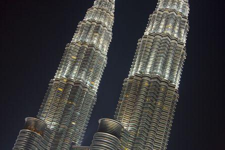 Twin Petronas Towers in Kuala Lumpur closeup
