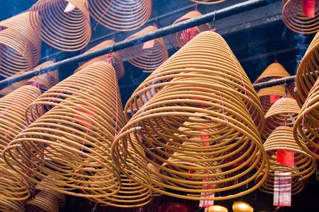 Incense Coils hanging in a temple in Hong Kong