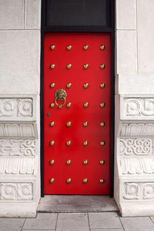 Red door at a chinese temple Stock Photo
