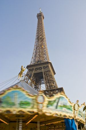 Eiffel Tower Paris France alternative view with merry go round in bottom of picture