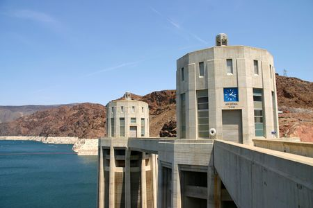 Hoover Dam view of pump towers Stock Photo