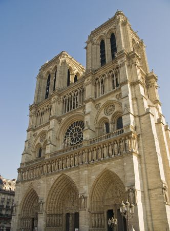 Notre Dame in Paris France with blue sky. Stock Photo
