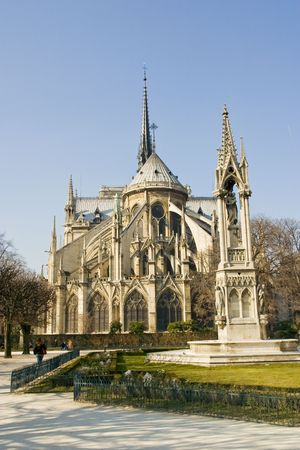 Notre Dame Cathedral in Paris from behind