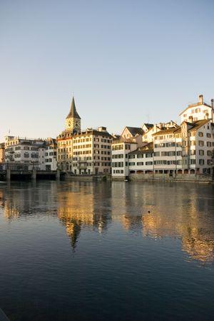 Zurich in Switzerland as the sun is rising