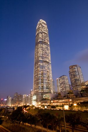 Office building in Hong Kong at Dusk