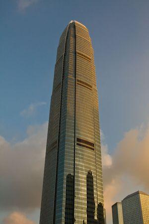 IFC building in Hong Kong at Dusk