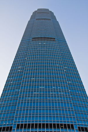 front view of a huge skyscraper.
