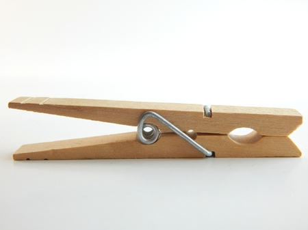 This is a picture of a clothespin on a white background. Stock Photo