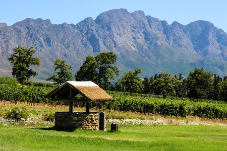 A water well on a wine farm in Franschhoek, South Africa. Stock Photo