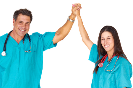 Portrait of two medical professionals celebrating success over white background. Horizontal shot. photo