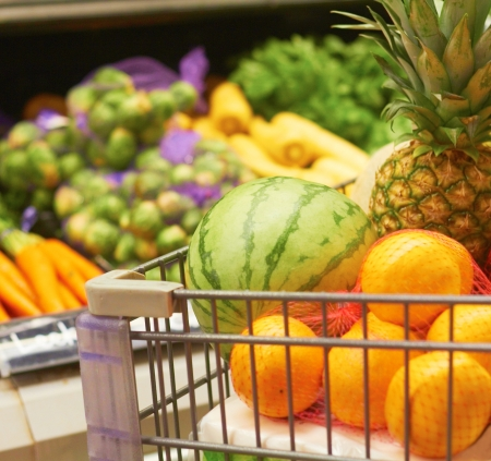 Fresh Fruits And Vegetables At The Supermarket photo