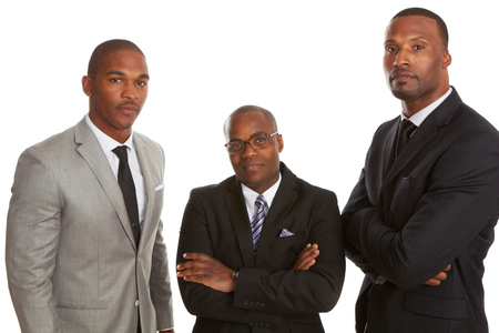 african american male: Confident African American Business Team isolated on white background. Stock Photo