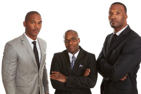 African American: Equipo de negocios americano africano conf�a aislado sobre fondo blanco.