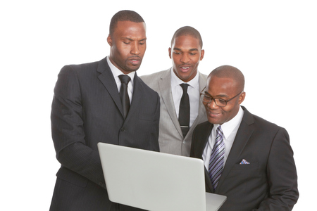african business: Confident African American Business Team isolated on white background. Stock Photo