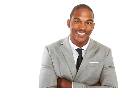 and the horizontal man: happy confident young african american business male smiling with confidence.