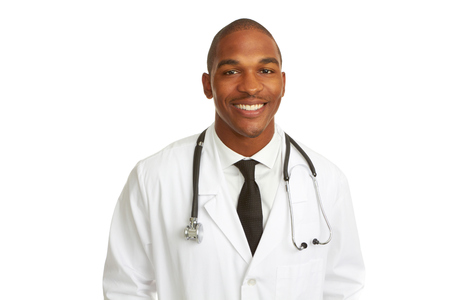 Happy Young African-American Doctor isolated on white background. horizontal shot. photo