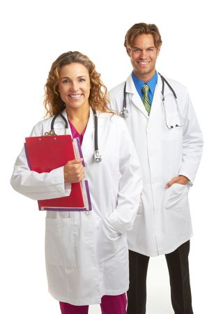 Happy attractive young doctors fresh from med school isolated on white background. photo