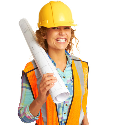 happy beautiful female construction worker isolated on white background photo