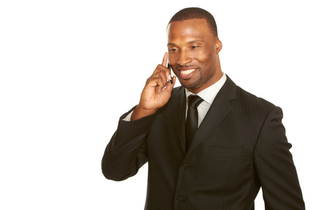 african american business male talking on cell phone isolated on white with copy space photo