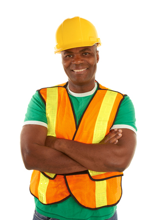 white color worker: happy african american construction with arms crossed isolated on white
