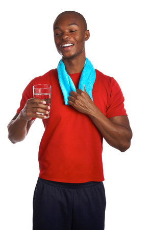 purified: African american male holding glass of water refreshed isolated on white background.