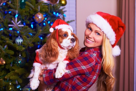 Christmas woman holding santa dog.  Beautiful happy young blonde girl holding Christmas dog with copyspace. photo