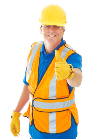 class maintenance: Confident Construction Worker Giving Thumbs Up isolated on white.