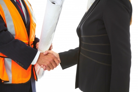 expertise: Shaking Hands Sealing the Construction Deal Isolated on white.