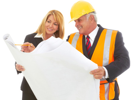 architect tools: Architect Laying Out the Job To Female CEO isolated on white.