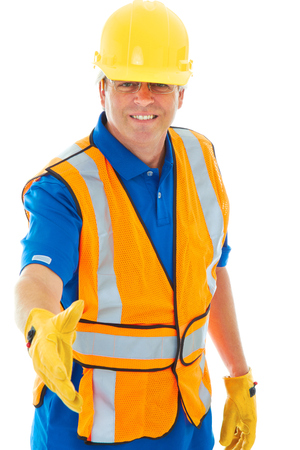 class maintenance: caucasion male construction worker gesturing handshake isolated on white