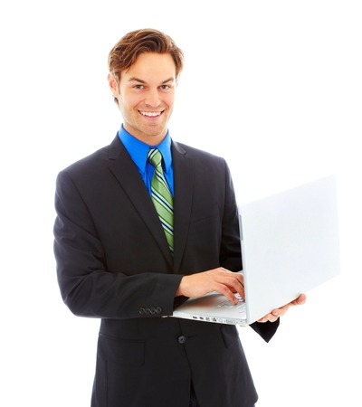 waist up: Happy business man on laptop isolated on white background. Waist up, color image, isolated on white, copy space.