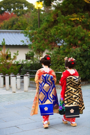 japanese kimono: Traditional Japanese female entertainers in Kyoto