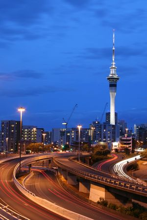 motorway: Auckland City at Dusk