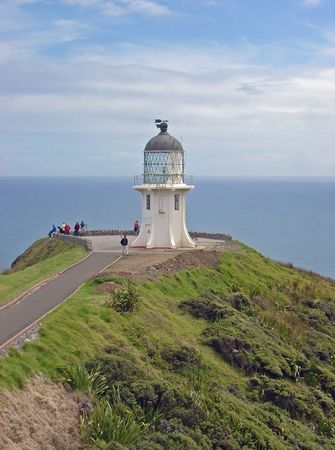 reinga: Cape Reinga Lighthouse, top of the North Island, New Zealand                                Stock Photo