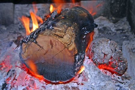 woodfire: Burning Log in Open Fire Stock Photo