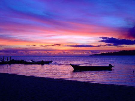 fijian: A beautiful purple Sunset at Plantation (Malolo) Island, Fiji
