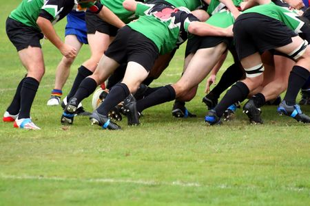 rugby team: A halfback wait to clear the ball from a Rugby Union Scrum