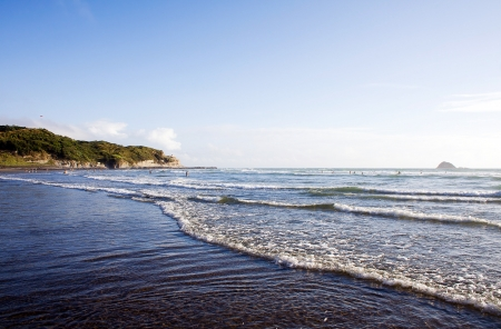 aotearoa: Muriwai Beach on a bright sunny evening with people playing in the surf