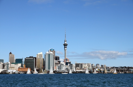new buildings: Yachts racing past Auckland City and Skytower on a clear sunny day, New Zealand