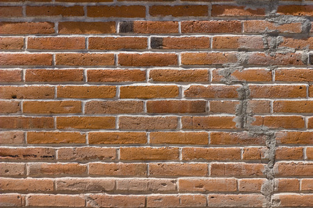 repaired: Brick Wall Texture With Crack Repaired With Mortar