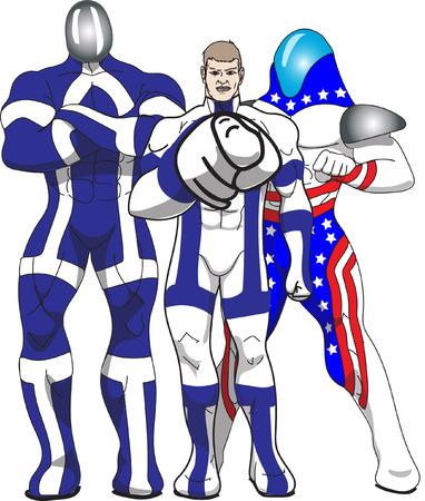 superheroes: Three superheroes in bright costumes.